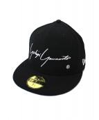 YOHJI YAMAMOTO×NEW ERA(ヨウジヤマモト×ニューエラ)の古着「ロゴ刺繍ベースボールキャップ」|ブラック