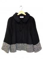 GALLERY VISCONTI(ギャラリービスコンティ)の古着「千鳥格子デザインショートコート」|ブラック