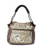 JAMIN PUECH(ジャマンピュエッシュ)の古着「レザーコンビ装飾ハンドバッグ」|グレー