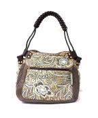 JAMIN PUECH(ジャマンピュエッシュ)の古着「レザーコンビ装飾ハンドバッグ」 グレー