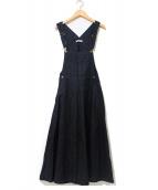 MITTERNACHT(ミターナット)の古着「リネンジャンパースカート/サロペット」 ブラック
