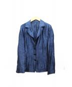 Leilian(レリアン)の古着「プリーツ加工リネンジャケット」|インディゴ