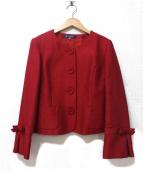 M'S GRACY(エムズグレイシ)の古着「スリーブリボンノーカラージャケット」 レッド