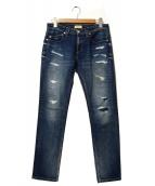 YANUK(ヤヌーク)の古着「ボーイズダメージデニムパンツ」|ブルー