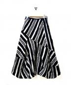 慈雨(ジウ)の古着「プリーツ加工ランダムストライプスカート」|ブラック×グレー