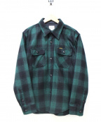 Pherrow's(フェローズ)の古着「チェックウールCPOシャツ」|グリーン