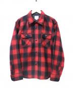 Pherrow's(フェローズ)の古着「チェックウールCPOシャツ」|レッド
