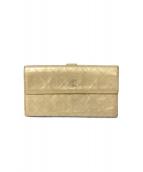 CHANEL(シャネル)の古着「キルトココマーク長財布」|シャンパンゴールド