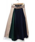 ELENDEEK(エレンディーク)の古着「シャイニースイッチプリーツロングスカート」 ベージュ