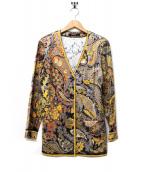 LEONARD FASHION(レオナールファッション)の古着「総柄プリントカーディガン」|イエロー