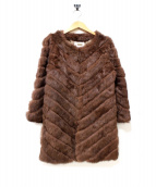 GOUT COMMUN(グーコミューン)の古着「オールラビットファーノーカラーコート」|ブラウン