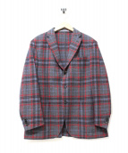Cantarelli(カンタレリ)の古着「チェックウールテーラードジャケット」|レッド×グレー
