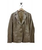 LEILIAN(レリアン)の古着「ラムレザーテーラードジャケット」|ベージュ