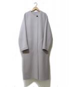 LAUTRE AMONT(ロートレアモン)の古着「1ボタンノーカラーガウンコート」|ライトグレー