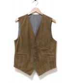 VAZZOLER(ヴァッツォレール)の古着「ラムスウェードレザージレベスト」|ブラウン