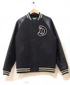 DELUXE(デラックス)の古着「レザースリーブスタジャン」|グレー×ブラック