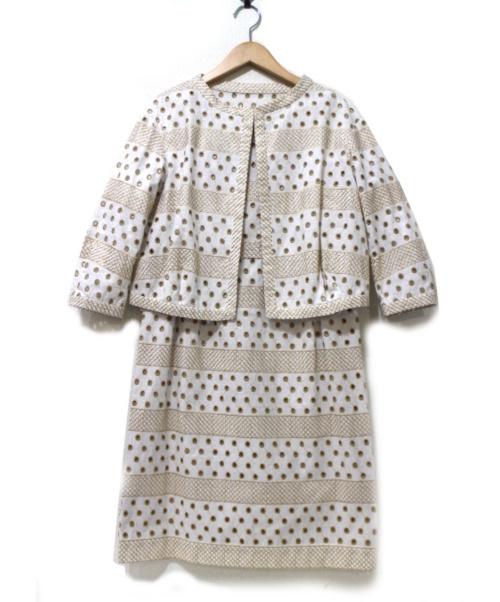 49AV junko shimada(ジュンコシマダ)49AV junko shimada (49AV ジュンコシマダ) アンサンブル・セットアップワンピース ホワイト×ベージュ サイズ:38 未使用品 春物の古着・服飾アイテム