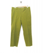HERMES(エルメス)の古着「テーパードスラックスパンツ」|黄緑