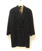 LEONARD(レオナール)の古着「パワーショルダーカシミヤコート」|ブラック