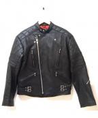 HORN WORKS(ホーンワークス)の古着「モーターサイクルレザージャケット」|ブラック