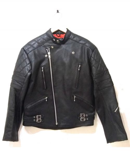 HORN WORKS(ホーンワークス)HORN WORKS (ホーンワークス) モーターサイクルレザージャケット ブラック サイズ:LLの古着・服飾アイテム