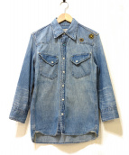 REMI RELIEF(レミレリーフ)の古着「フラワースタッズデニムウエスタンシャツ」|ブルー