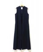 MADISON BLUE(マディソンブルー)の古着「DEEP V SLEEVELESS LONG COAT」|ネイビー