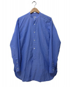 COMOLI(コモリ)の古着「ベタシャンバンドカラーシャツ」 ブルー