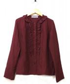 ISSEY MIYAKE(イッセイミヤケ)の古着「フリルブラウス」|ボルドー