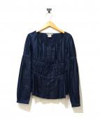 ISSEY MIYAKE(イッセイミヤケ)の古着「ギャザーブラウス」|ネイビー