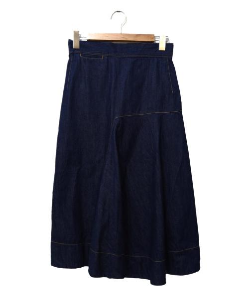 MACPHEE(マカフィー)MACPHEE (マカフィー) アシンメトリーデニムスカート インディゴ サイズ:36 未使用品の古着・服飾アイテム