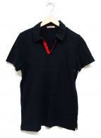 PRADA SPORTS(プラダスポーツ)の古着「Vネックポロシャツ」|ブラック