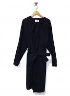 BLACK by moussy(ブラックバイマウジー)の古着「ノーカラーコート」|ネイビー