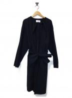 BLACK by moussy(ブラックバイマウジー)の古着「ノーカラーコート」 ネイビー
