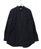 WISLOM(ウィスロム)の古着「HENRI /コットンポプリンベーシックシャツ」 ブラック