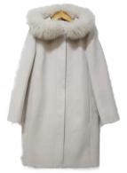 INDIVI(インディヴィ)の古着「ウールビーバーフーデッドコート」 ホワイト