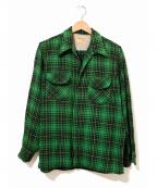 TOWN CRAFT(タウンクラフト)の古着「[古着]織り柄チェックウールシャツ」 グリーン