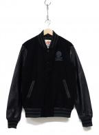 Franklin & Marshall(フランクリン&マーシャル)の古着「レザー袖ロゴスタジャン」|ブラック