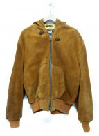 ()の古着「カウレザーフーデッドジャケット」 ブラウン