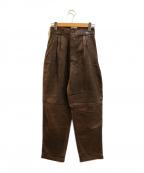 GIANNI VERSACE(ジャンニヴェルサーチ)の古着「 [古着]シンチベルトレザージョッパーズパンツ」|ブラウン
