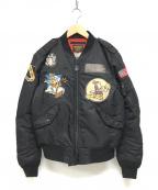 AVIREX(アヴィレックス)の古着「ワッペンMA-1ジャケット」|ブラック