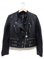DIESEL()の古着「ラムレザーライダースジャケット」|ブラック