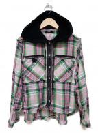 DIESEL(ディーゼル)の古着「フード付チェックシャツ」|ピンク