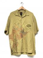 HARLEY-DAVIDSON(ハーレーダビットソン)の古着「ドラゴン刺繍シルクオープンカラーシャツ」|ベージュ