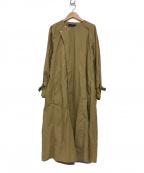 MACPHEE(マカフィー)の古着「コットンベルテッドノーカラーコート」|ベージュ