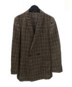 THE Sakaki(ザ サカキ)の古着「リネン混ペンチェックダブルジャケット」|ブラウン