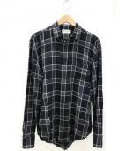 SAINT LAURENT PARIS(サンローラン パリ)の古着「ブロックチェックシャツ」 ブラック×グレー