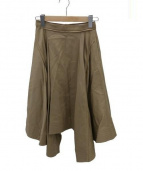 TARO HORIUCHI(タロウホリウチ)の古着「アシンメトリーフロントフレアスカート」|ベージュ