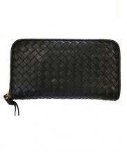 BOTTEGA VENETA(ボッテガベネタ)の古着「イントレチャートラウンドファスナー長財布」|ブラック