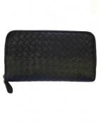BOTTEGA VENETA(ボッテガベネタ)の古着「イントレチャートラウンドファスナー長財布」|ブラック×グレー